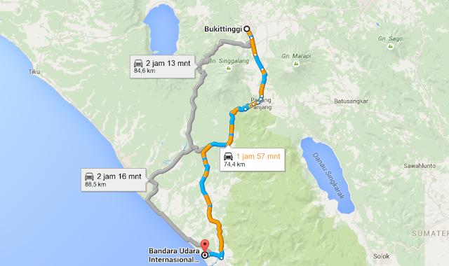 Peta Jarak Bandara Padang ke Bukittinggi