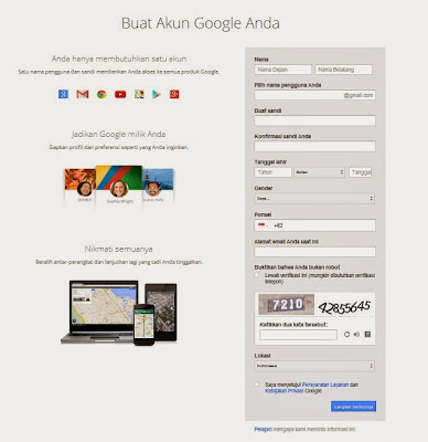 Form Pendaftaran Akun Google