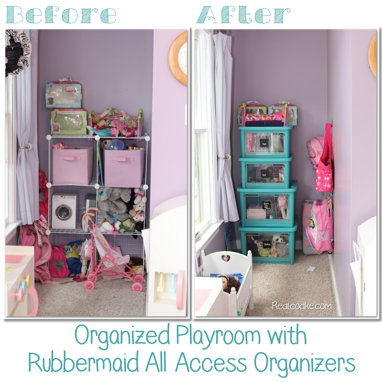 Love how great this looks and how it simplified the playroom. Easy toy storage using  sc 1 st  The Real Thing with the Coake Family & Easy Toy Storage with Rubbermaid All Access Organizers
