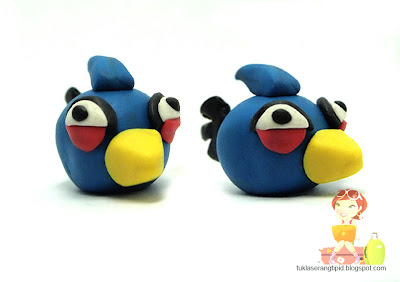 clay angry bird  blue bird   handcrafts arts creative DIY