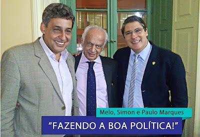 Sebastião Melo, Pedro Simon e Paulo Marques