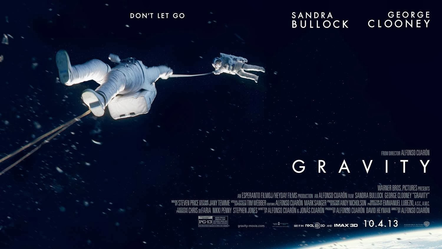 Poster of Gravity movie showing two men in space