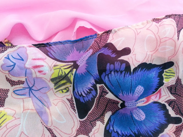 shawl chiffon 2 layer printed butterfly soft pink