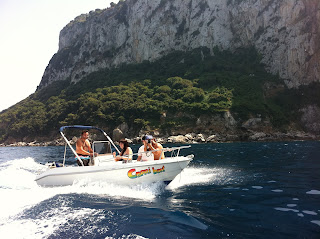 Peter driving the other boat as we take two for a spin around Capri.