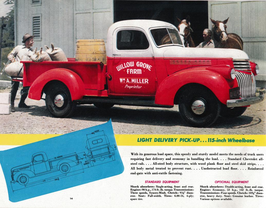 Nostalgia On Wheels 1942 Chevrolet Trucks Brochure 1 2 Ton Light Chevy Truck Patina Duty