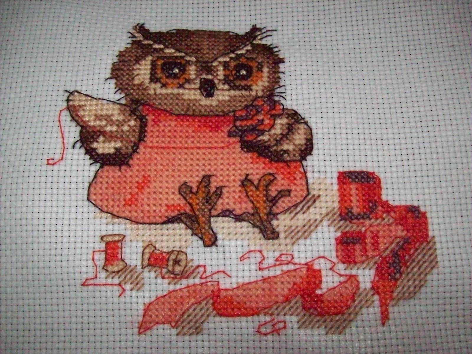 Вышивка сова рукодельница