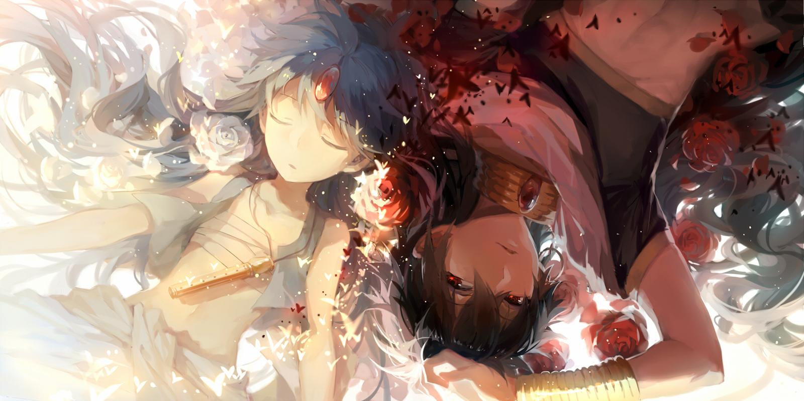 Alibba Judal Magi The Labyrinth Of Magic Anime Flowers Red Eye Konochan Hd Wallpaper Desktop Pc