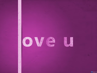 Love U Purple Text Wallpaper