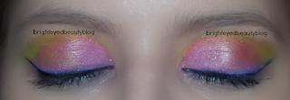 Lime Crime Aquataenia Palette Bright Eye Look (both eyes closed).