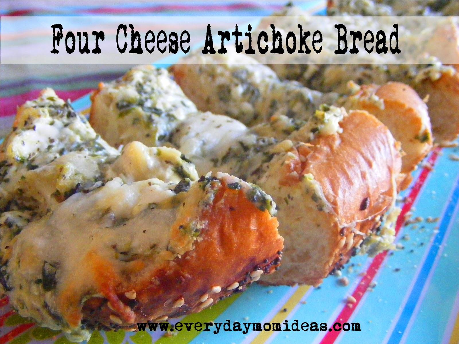 Three Cheese Artichoke Bread Recipe - Everyday Mom Ideas