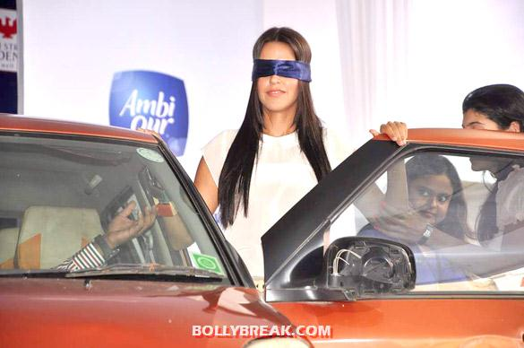 Neha Dhupia BlindFolded for Ambi Pure Promotion - Neha Dhupia promotes Ambi Pure