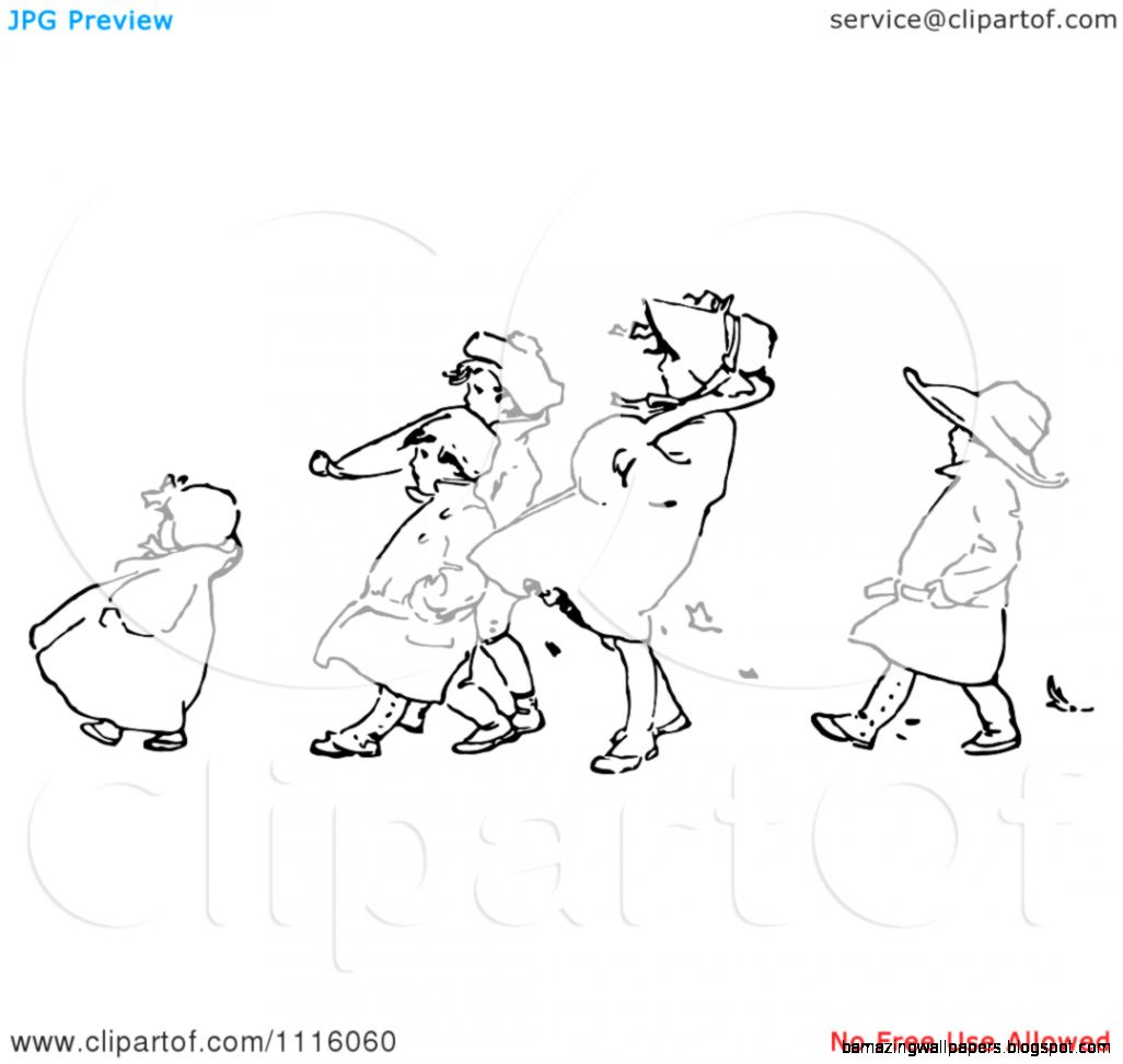 Clipart Retro Vintage Black And White Children Walking Against The