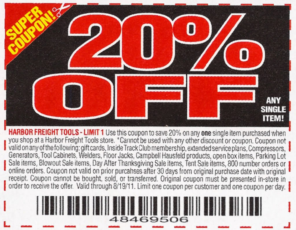 Harbor freight 20 off coupon code