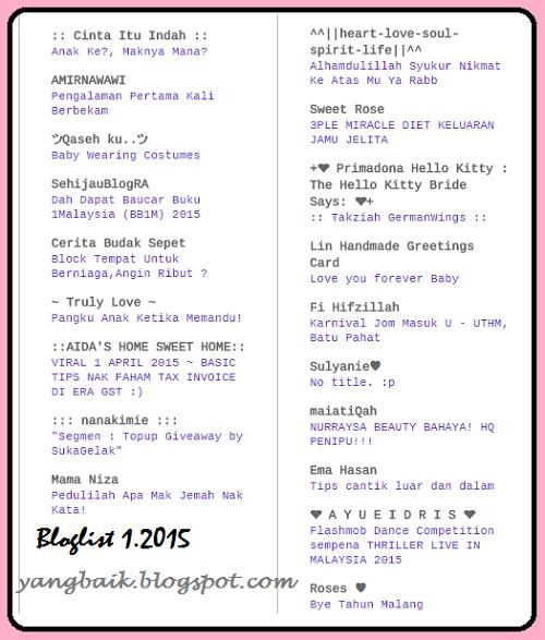 Terima kasih Bloglist Januari 2015