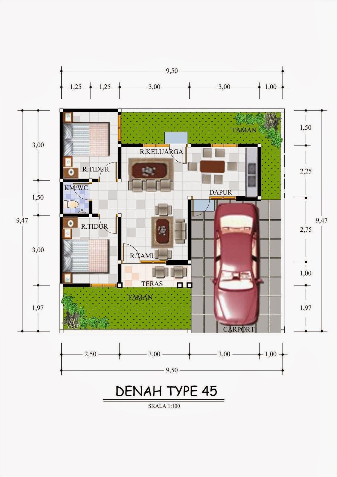 gambar denah rumah tipe 45