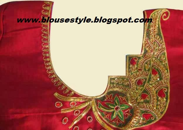 red colour mehenthi embroidery work back blouse