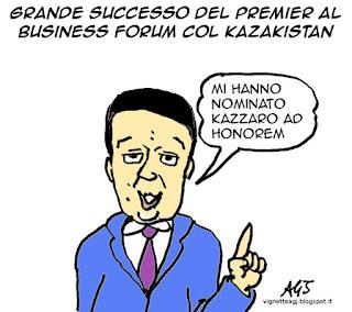 Renzi, Kazakistan, vignetta, satira