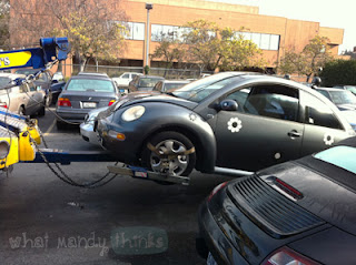 "What Mandy Thinks: Image of my car being towed: ""UPDATE: The bug was towed the next morning and fixed :)"""