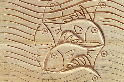 Woodcarving of Escher's Fish and Waves