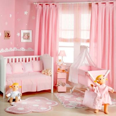 foto de dormitorio rosa bebé