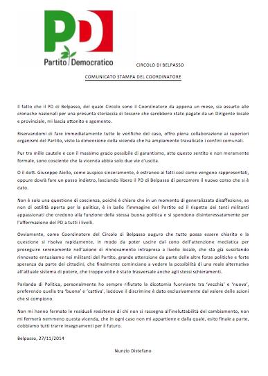 """Presunto """"Tesseragate"""" al Pd Belpasso: la posizione del coordinatore"""