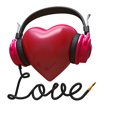 Heart with headphones emoticon