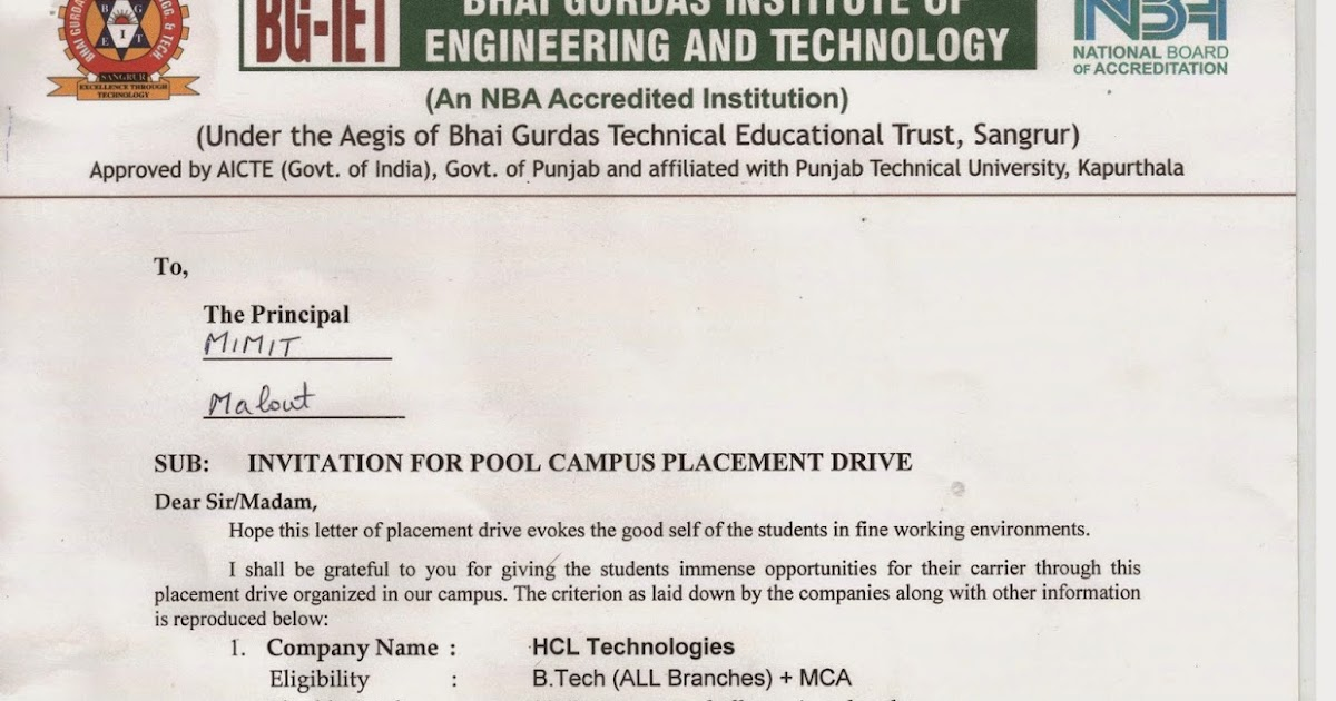 Tpo mimit malout invitation for pool campus placement drive bhai tpo mimit malout invitation for pool campus placement drive bhai gurdas institute of engineering and technology sangrur stopboris Gallery