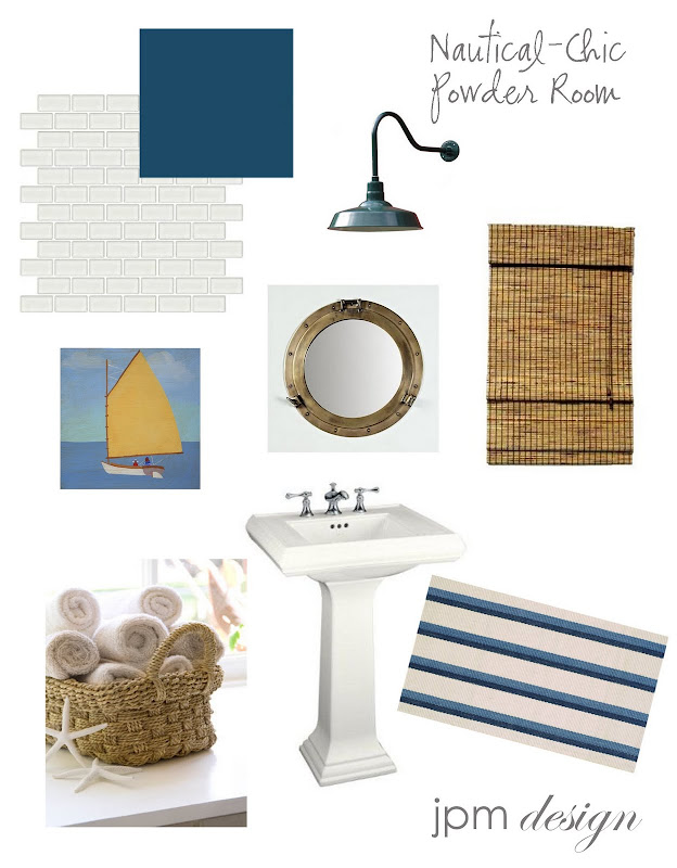 Nautical-Chic Powder Room title=