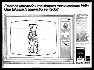 propaganda TV Sharp com controle remoto - 1974. anos 70.  1974. década de 70. os anos 70; propaganda na década de 70; Brazil in the 70s, história anos 70; Oswaldo Hernandez;