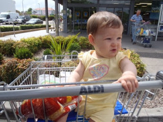 Baby in trolley, Aldi