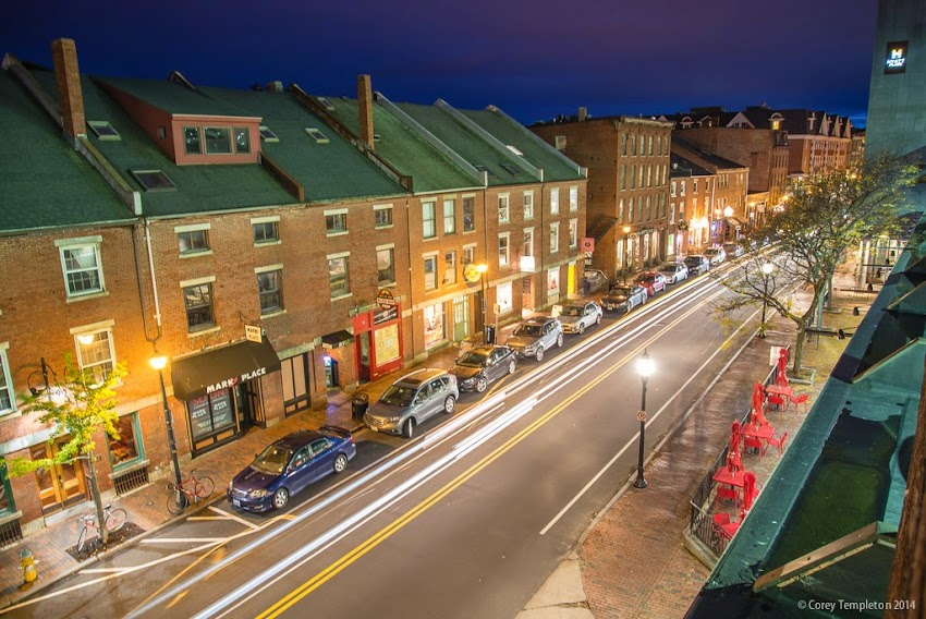 October 2014 Portland Maine Fore Street in the Old Port at Night photo by Corey Templeton
