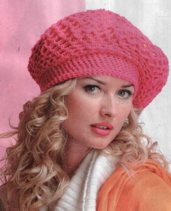 схемы вязания шапок и беретов из мохера.