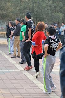 Line dancers in Dongdan Park in Beijing