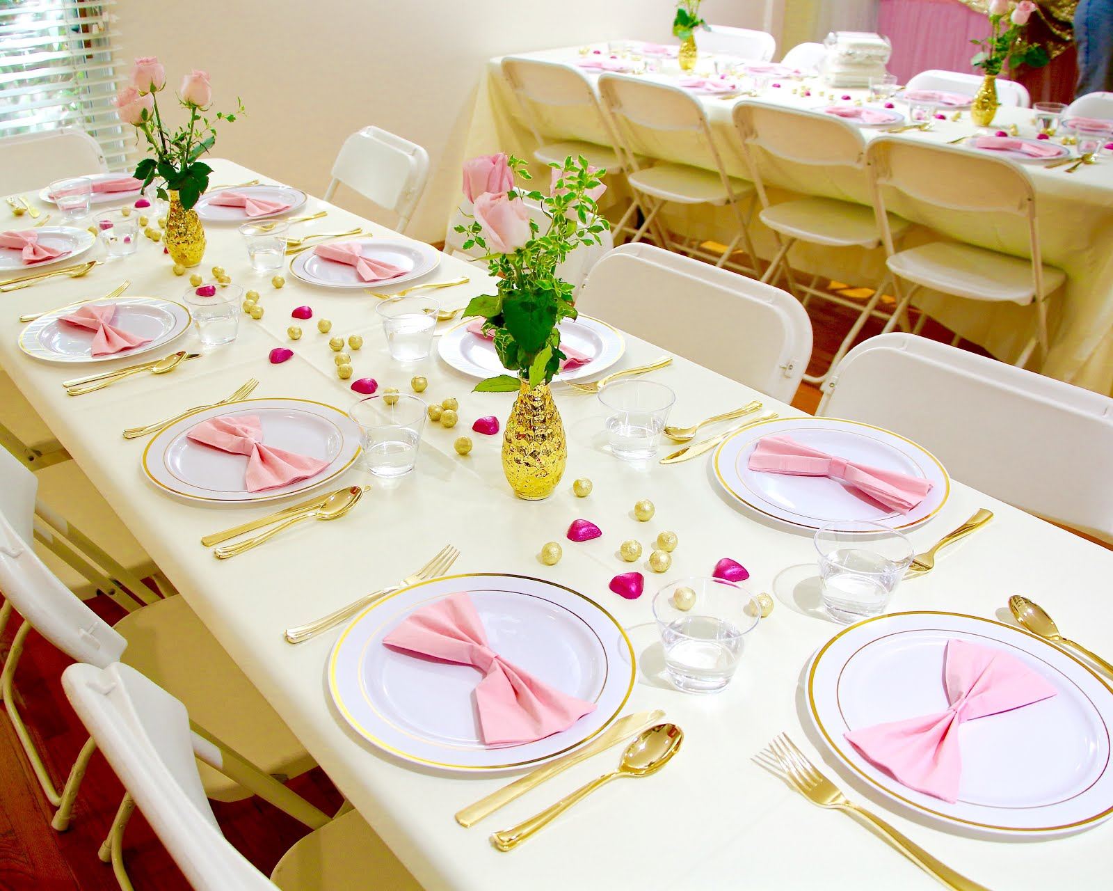 Video Diy Pink Gold Girl Baby Shower On A Budget Behind The