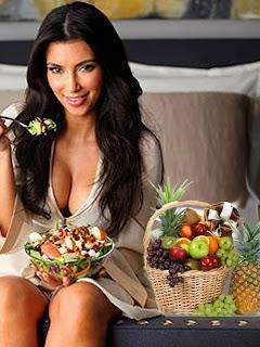 Kim Kardashian having fruit salad