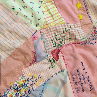 pink, hearts, scrap quilt, crazy quilt, hand work, hand embroidery