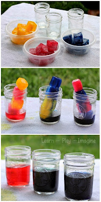 Simple color theory science for kids with colored ice - kids will love mixing the ice and seeing the results!