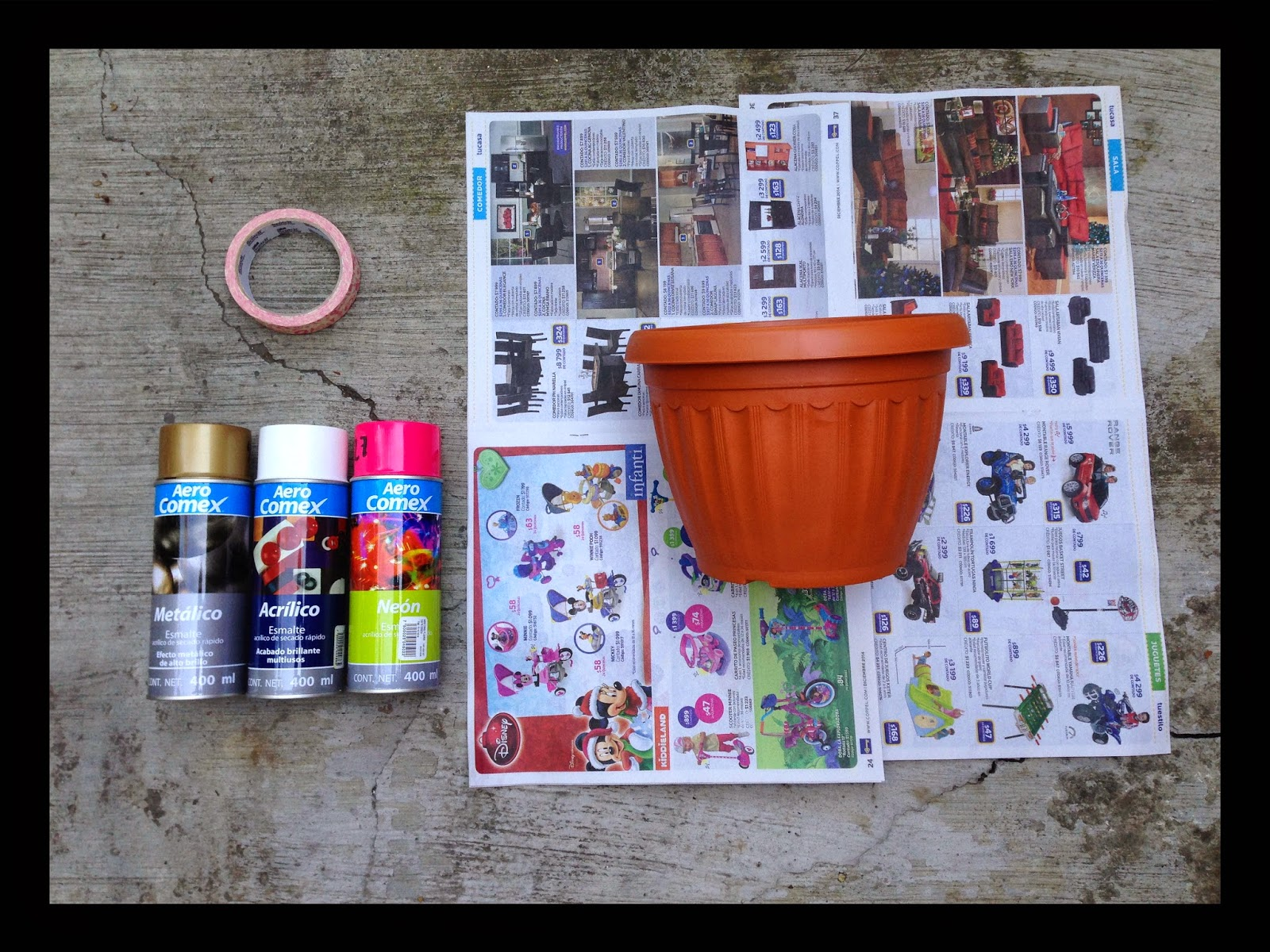 Pintar macetas de plastico con aerosol