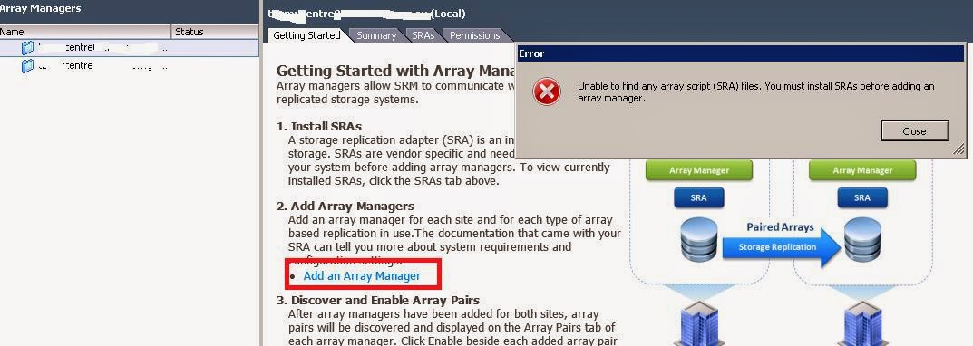 Unable to find array script files, you must install SRAs before adding array manager.