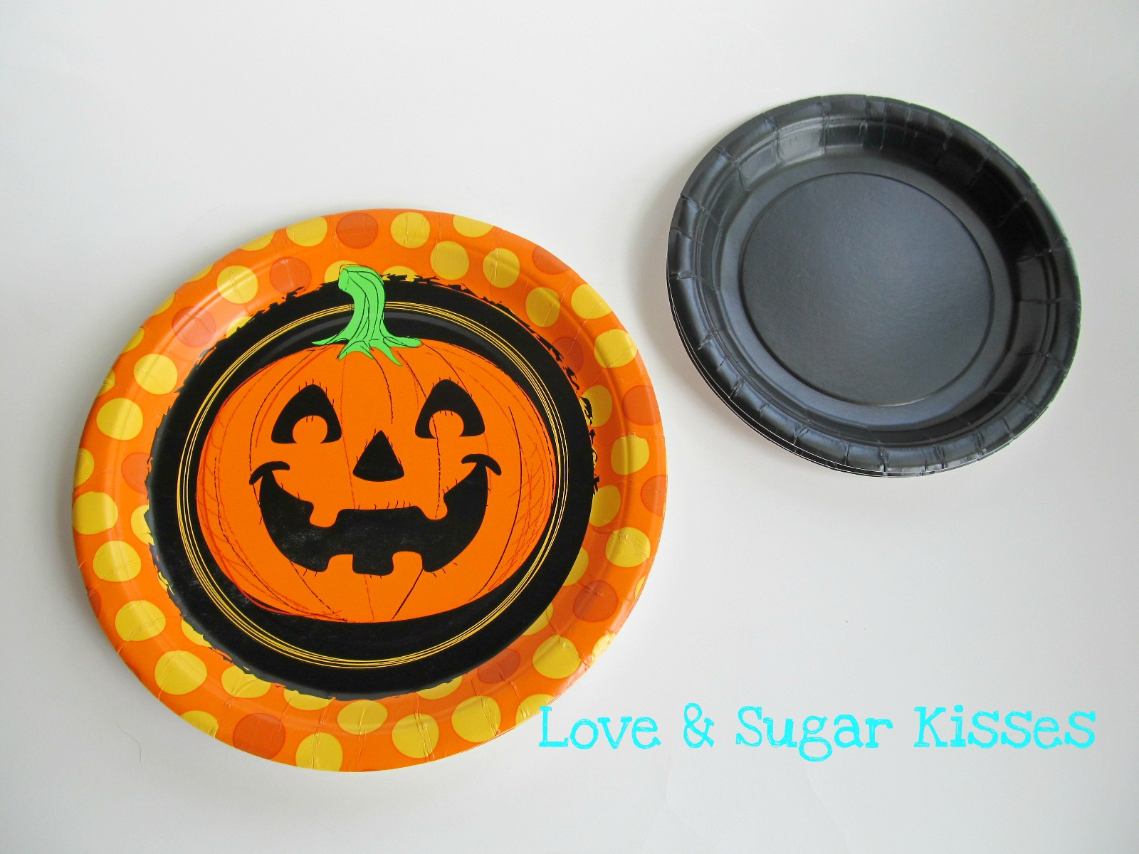 Love sugar kisses diy halloween paper plate garland paper plates in 2 sizes ribbon adhesive i used a glue dot runner cardstock foam glitter sheets hole punch i found these paper plates for 97 cents a jeuxipadfo Image collections