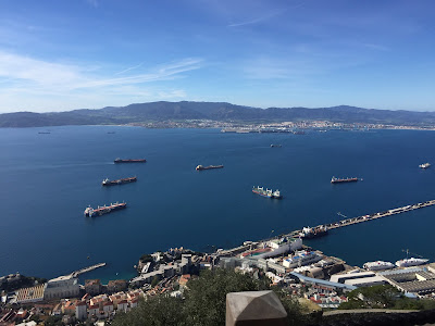 toward Algeciras over Gibraltar's moles and dockyards