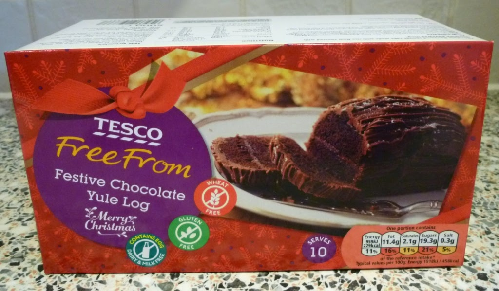 The Tesco Free From Festive Chocolate Yule Log is gluten, wheat, dairy and milk free
