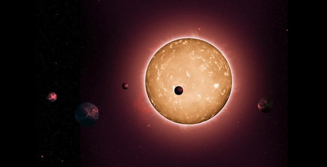 The system Kepler-444 formed when the Milky Way galaxy was a youthful two billion years old. The planets were detected from the dimming that occurs when they transit the disc of their parent star, as shown in this artist's conception. Credit: NASA