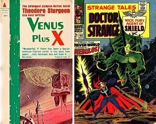 Venus Plus X paperback and Strange Tales 162 covers with same surrealistic alien