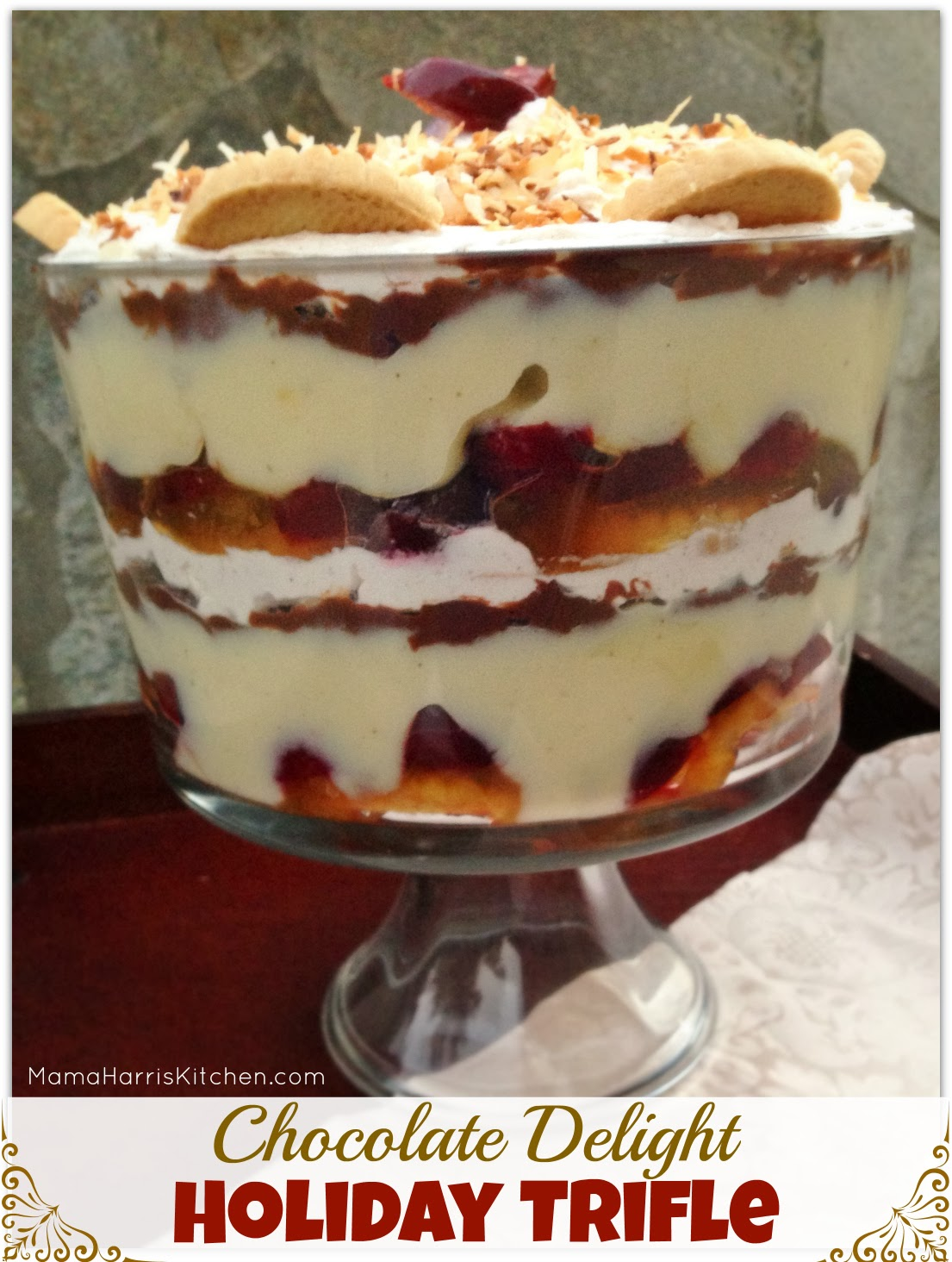 Chocolate Delight Holiday Trifle | Mama Harris' Kitchen