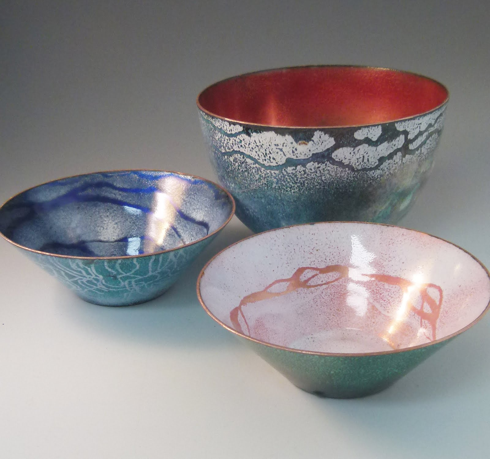 Enamel on copper bowls