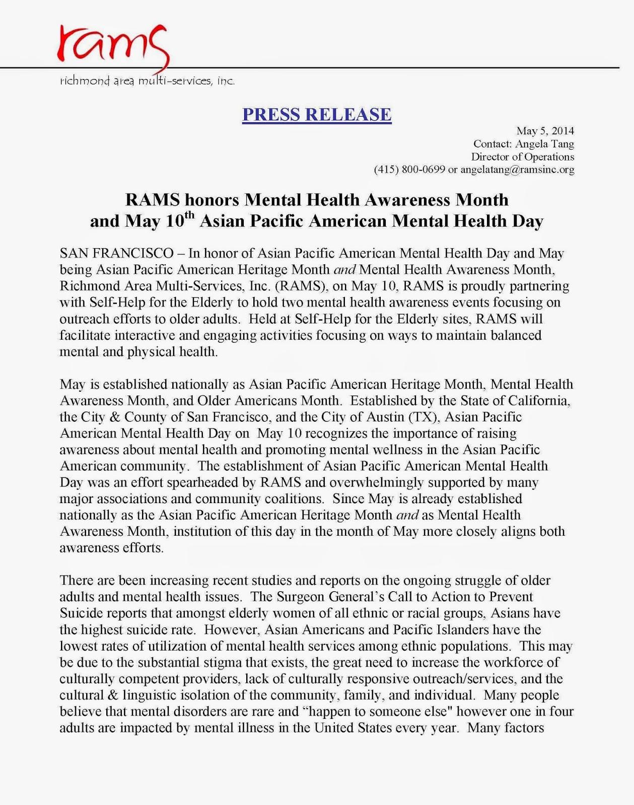Rams A Comprehensive Mental Health Services Agency In San Francisco