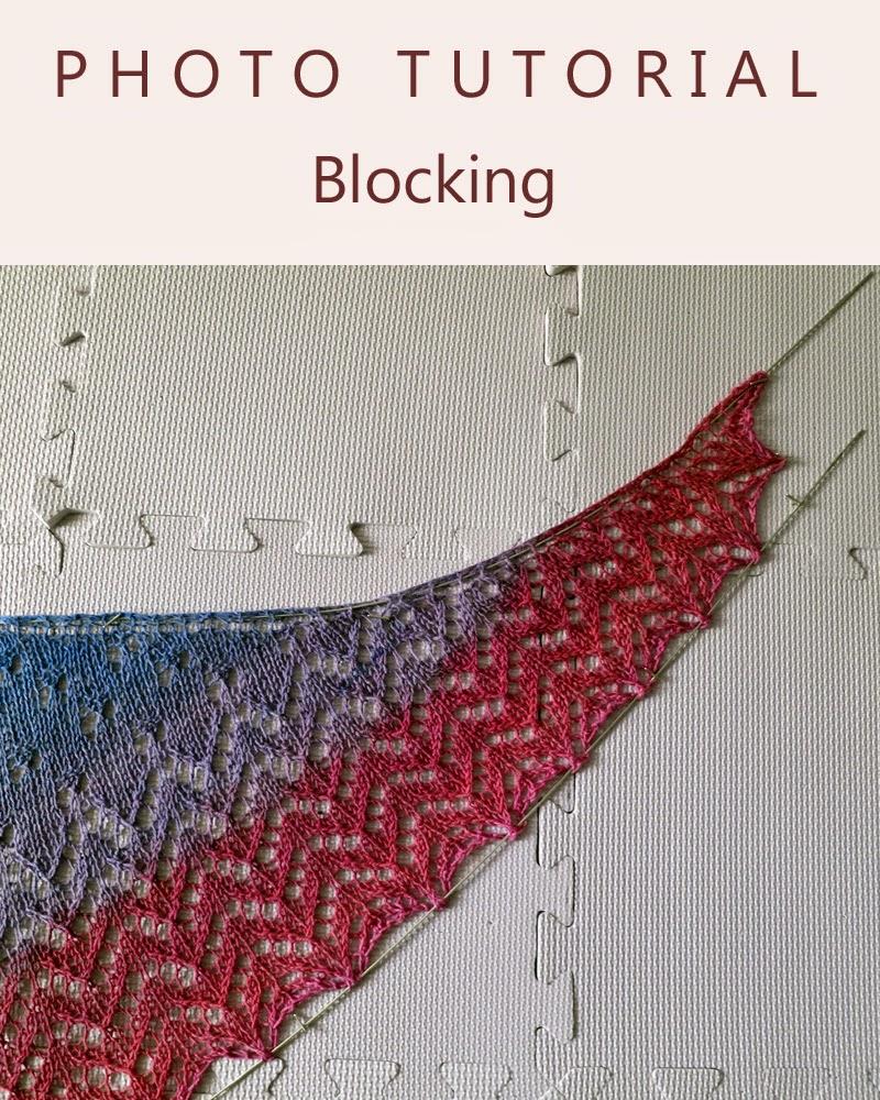 Knitting Like Crazy Photo Tutorial Blocking Top Down Crescent Shawls