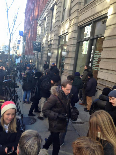 Fans and reporters outside David Bowie's New York home, Jan 11 2016