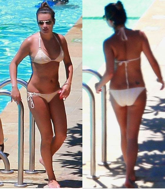 Wow! looks like Lea Michele is running out to more faster than before. Maybe the water is colder than the cruel comments as the actress shows off her magnificent body in a white bikini on Wednesday, July 16, 2014.